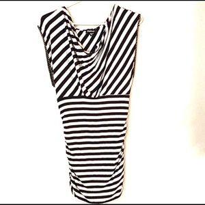 Bebe | Long black and white striped shirt